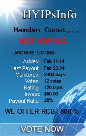 Hamdan Constructions Monitoring details on HYIPsInfo.com