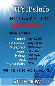 MillionPAL LTD Monitoring details on HYIPsInfo.com