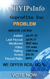 Gcprofits Inc Monitoring details on HYIPsInfo.com
