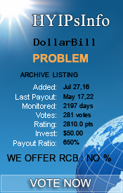 DollarBill Monitoring details on HYIPsInfo.com