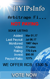 Arbitrage Finance Limited Monitoring details on HYIPsInfo.com