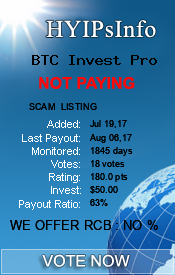BTC Invest Pro Monitoring details on HYIPsInfo.com