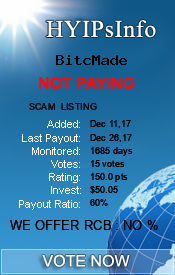 BitcMade Monitoring details on HYIPsInfo.com