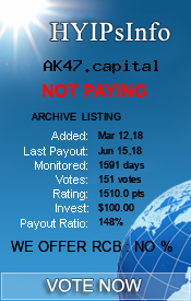 AK47.capital Monitoring details on HYIPsInfo.com