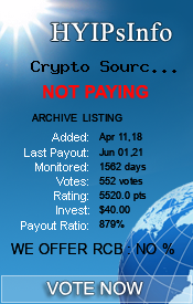 Crypto Source Share Monitoring details on HYIPsInfo.com