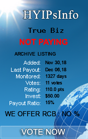 True Biz Monitoring details on HYIPsInfo.com