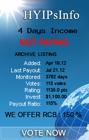 4 Days Income Monitoring details on HYIPsInfo.com