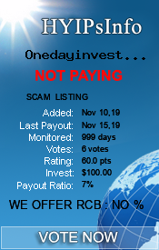 Onedayinvestment.com Monitoring details on HYIPsInfo.com