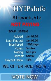 Bitpark.biz Monitoring details on HYIPsInfo.com