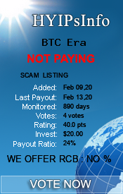 BTC Era Monitoring details on HYIPsInfo.com