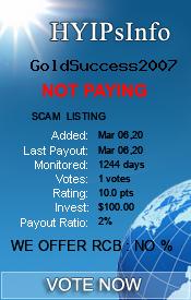 GoldSuccess2007 Monitoring details on HYIPsInfo.com