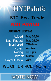 BTC Pro Trade Monitoring details on HYIPsInfo.com