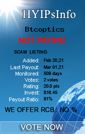 Btcoptics Monitoring details on HYIPsInfo.com