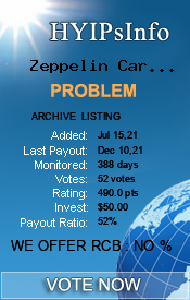 Zeppelin Cars Limited Monitoring details on HYIPsInfo.com